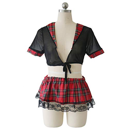Schulmädchen Kostüm Outfit Damen Dessous Uniform Set Anime Schuluniform Mädchen Cosplay Outfit Mit Strümpfe Dienstmädchen Sexy Cosplay Minirock