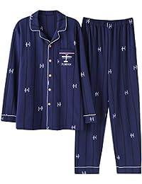Mmllse Pijamas Hombres Sueltos Vistiendo El Sueño Algodón De Las Mujeres Rayada Cardigan Ropa De Dormir