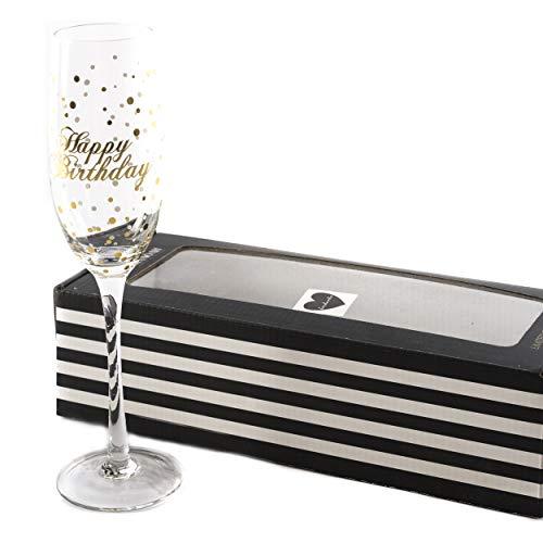 Sektglas Glas Geburtstag Happy Birthday | knuellermarkt24.de | Jubiläum Gläser Gold handgemacht Wein Sekt Champagner