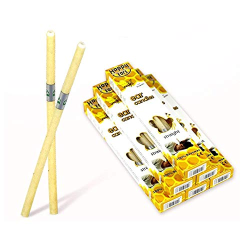 AOLVO Kerzen aus 100% Bienenwachs, ungiftig, ohne Duft, hohles Bienenenwachs, mit Schutzscheibe, 4 Stück -