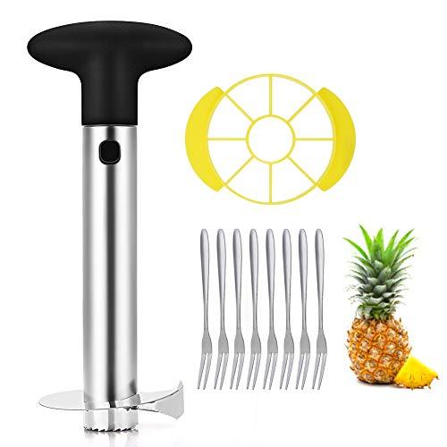 OITUGG Edelstahl Ananasschneider, Ananasschäler und Schneideschneider, 3-in-1-Ananaswerkzeug mit abnehmbarem Keil und acht Fruchtgabeln by (Black)