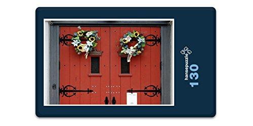 hansepuzzle 57582 Religion - Rote Tür, 130 Teile in Hochwertiger Kartonbox, Puzzle-Teile in wiederverschliessbarem Beutel. - Kathedrale Türen