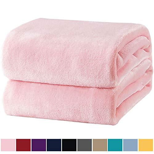 Bedsure Kuscheldecke Rosa Flauschige Decke, extra weich& warm Wohndecke in Wohnzimmer, 150x200 cm Flanell Fleecedecke, Falten beständig/Anti-verfärben als Sofadecke oder Bettüberwurf -