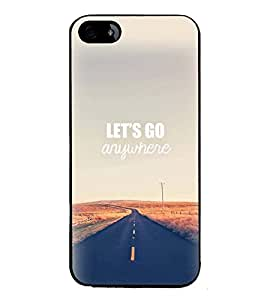 PrintVisa Designer Back Case Cover for Apple iPhone 4 (Lets Go Any Where Road Straight Roads Outskirts)