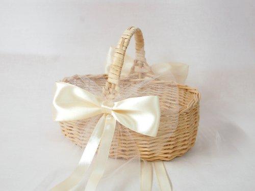 Blumenkinderkörbchen Korb oval natur hell mit SATIN- UND TÜLLSCHLEIFE CREME, ca. 15 x 19 cm - Blumenkinderkorb Streukorb Streukörbchen zur Hochzeit, geflochten -