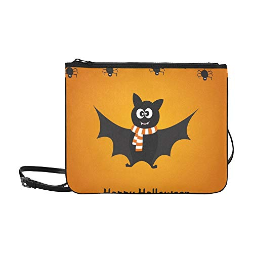 Cartoon Cute Bat Spiders Happy Halloween Benutzerdefinierte hochwertige Nylon Slim Clutch Crossbody Tasche