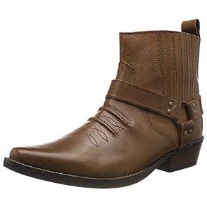 Kick Footwear - Herren Cowboy Ankle Boots Aus Leder Biker-Boots Aus Leder Toe