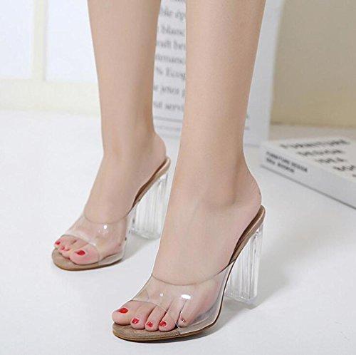 Beauqueen Sandalen Open-Toe Transparente Obere Chunky High Heel Elegante Schuhe EU Größe 35-40 apricot