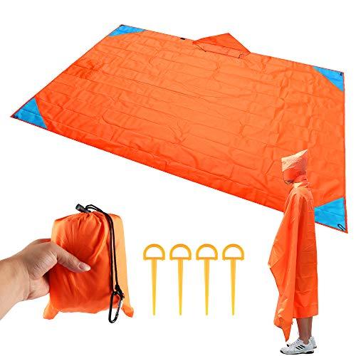 ABEDOE Strand-Picknick-Decke, Faltbare Sand-Beweis-kompakte Taschen-Decke im Freien wasserdichte Matte mit 4 Zelt-Stöcken, die Reise-kampierendes Festival und das Wandern wandern (Orange) - Decke Werfen ärmel