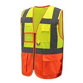 AYKRM HiVis High Visibility Executive Work Safety Zip Vest Pocket waistcoat