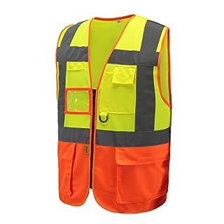 AYKRM HiVis High Visibility Executive Work Safety Zip Vest Pocket waistcoat hi vis vest (XL, YELLOW)