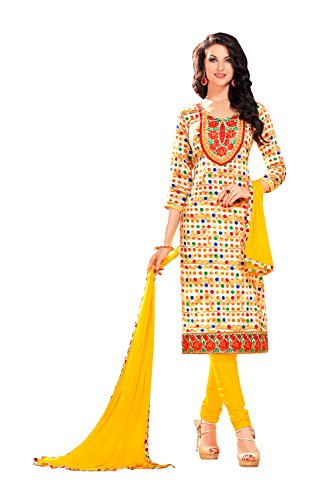 Indian Women Designer Party wear Traditional Anarkali Salwar Kameez in yellow cotton (Kameez Gelb Chiffon)