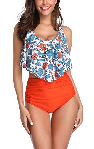 Ajpguot Verano Traje de Baño Mujer Sexy Push Up Bikinis Impresión Tops de Bikini+Triángulo Braguitas Talla Grande Bañador Conjuntos (M, Y1063 Naranja Oscuro)