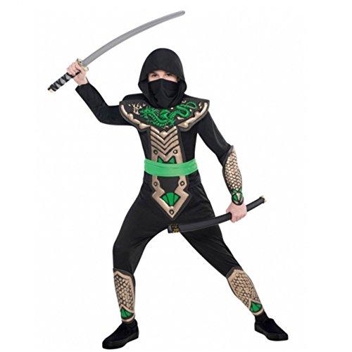 Krieger Kostüm Ninja Dragon - Kinderkostüm Dragon Ninja Overall Krieger Japan Fasching Kostüm (8-10 Jahre)