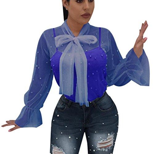 MRULIC Frauen Sommer Nagel Korn Transparente Art und Weiseoberseiten- Ange Hülsen Hemd Bluse(Blau,EU-42/CN-XL) (Pro Top-korn)