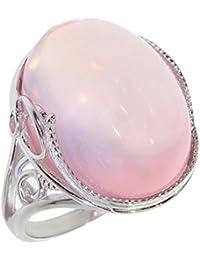 061e580d0566 Anillo con Cuarzo rosa 66-01 - Bisutería de plata rodinada con Cuarzo rosa  - Todos los tamaños y piedras diferentes…