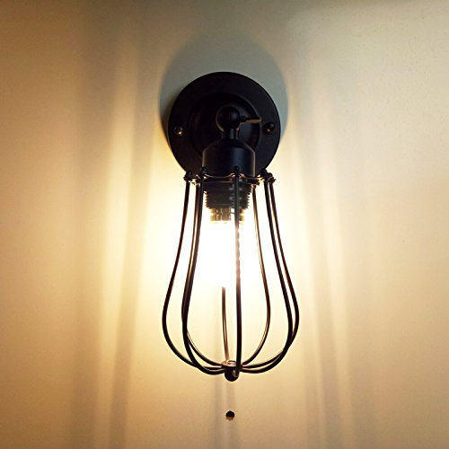 LWYJRBD Wandleuchte Wandlampe/Loft Wand Lampe Eisen Käfig Licht Industrie E27 Restaurant Bar Veranda Schlafzimmer Wohnzimmer Gang Café Licht Wandleuchte BH, Schwarz Keine Birne E27 (Loft 9 Licht)