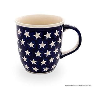 Polish Pottery Boleslawiec Mug, Curvy, 0.35L in STAR pattern