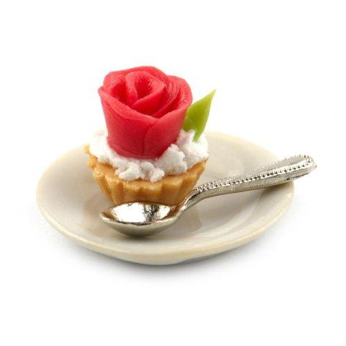 MyTinyWorld 2 x Maison de poupées miniature Rouge Fondant Rose tarte sur une plaque avec cuillères