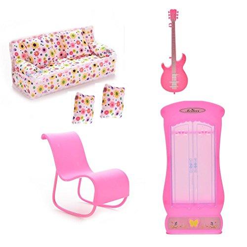 Xiton CoscosX Barbie Meubles Accessoires de 1pc Couch, Coussins 2PCS, 1pc Guitare, 1pc Rocking Chair (Rose ou Blanc au Hasard), 1pc Armoire Placard pour poupées Barbie