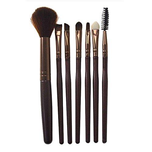 IMJONO 7 Pcs Silicone Maquillage BrosseLe fard à paupières Brosse Crin de cheval, fibre de laine Produits de beauté Mélange Brosse Outil(café)