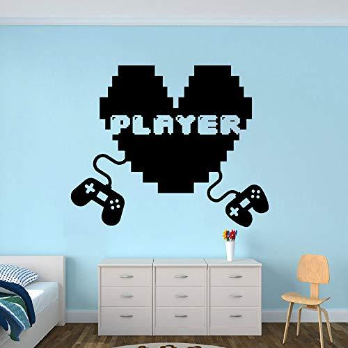 jiuyaomai Gaming Joystick Wandtattoo Gamer Player Vinyl Wandaufkleber Zwei Spiele Steuerelemente Wandkunst Removable Gamers Wandbild A lila 57x47cm