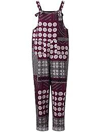 Hibote Womens Baggy Latzhose Baumwolle Lässig Sommer Kurze Hose Jumpsuits  mit Taschen Overall Weites Bein Hosen fdfebe2af3