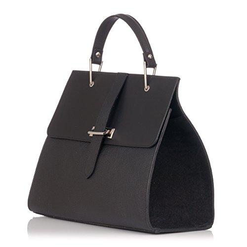 Laura Moretti - Glatte und metallische Handtasche aus Leder Schwarz