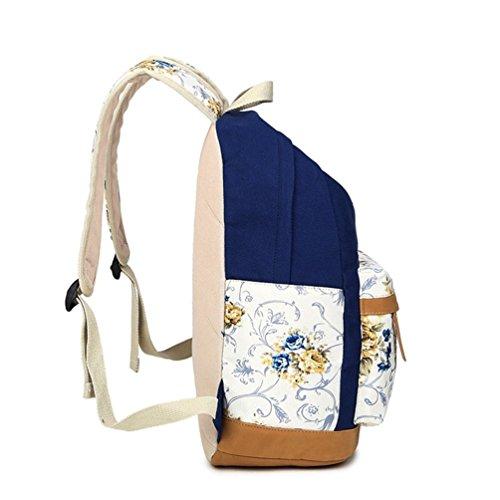 Go Further Lässige daypack neue Leinwand Blumendruck-Design-Student Schultern grünen Rucksack für Mädchen Blau