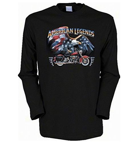 Herren Langarm-Shirt ::: American Legends - Bike and Eagle ::: für echte Biker Schwarz