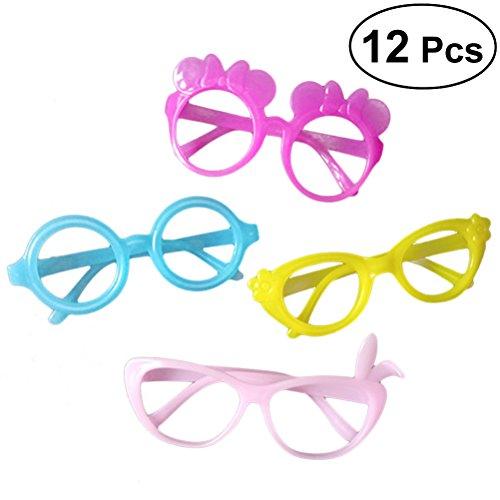 TOYMYTOY Kinder Party Brillen Plastik Rund Rase Schmetterling Blume Form Brillen Glasrahmen Ohne Linse für Küstome Party Geschenk 12 Stück