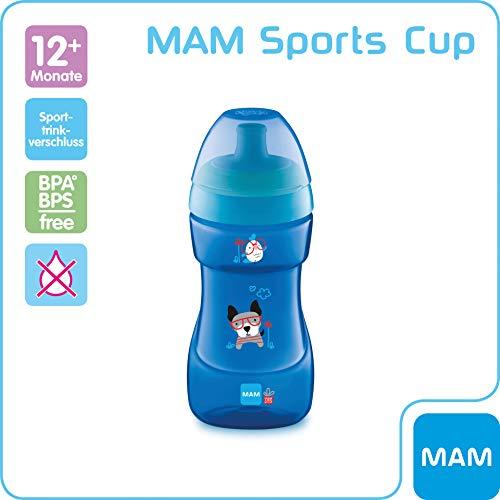 MAM Sports Cup (330 ml), auslaufsicherer Baby Trinkbecher mit selbstöffnendem Ventil, Kinder Trinkbecher mit rutschfester Greiffläche, ab 12+Monaten, Tiermotive, blau