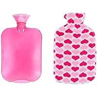 HEALIFTY 2 Liter wiederverwendbare Wärmflasche PVC-Heißwasser-Tasche mit Herzen gedruckt Abdeckung für Schmerzlinderung... preisvergleich bei billige-tabletten.eu