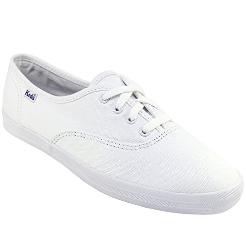 womens-keds-canvas-lace-up-flat-trainers-white
