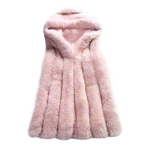 mioim Damen Faux Pelz Weste Ärmellose Lange Jacke Vest Kunstpelz mit Kapuzen Winter Herbst Pelzmantel Fellweste Mäntel Rosa S