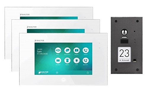 """Türsprechanlage mit 170 ° Kamera 2-Draht BUS mit 3x7\"""" Display und Zoom Funktion für 1-Familienhaus"""