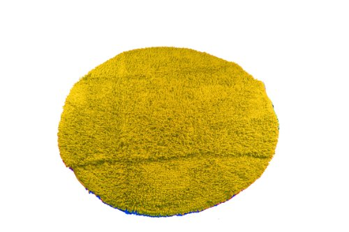 Alfombra redonda amarilla de algodón 119 cm