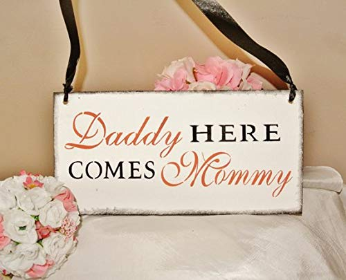 e Comes Mommy, Here Comes The Bride, Custom Colors, Pink Coral Black White, Wood, Wedding Sign, Fairytale 7 x 15 x 0.2 Inch Wood Sign ()