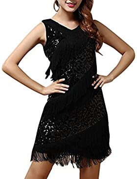 Mujer Latino Vestido Vestido Latino Danza Rumba Borla De Lentejuelas De Baile Negro