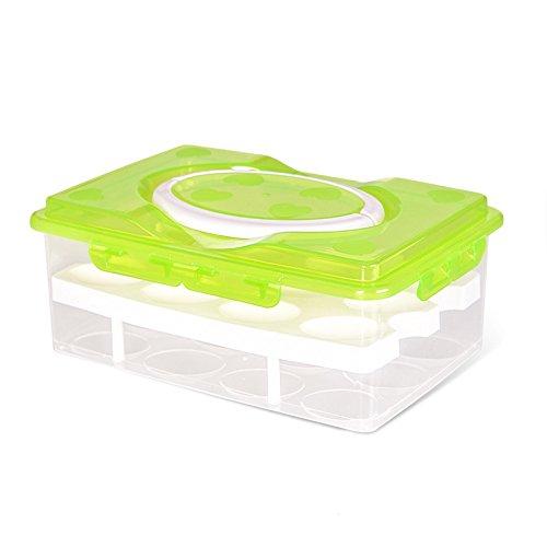 \'F & H clest (R) Tragbare Double Layer 24Eier luftdicht Container Kunststoff Box Bruchfest rutschfester mit Griff grün