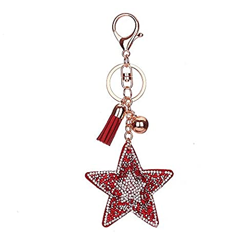 Full Rhinestone Keyring, Chickwin Lovely Fashion Five-pointed Star Leather Tassel