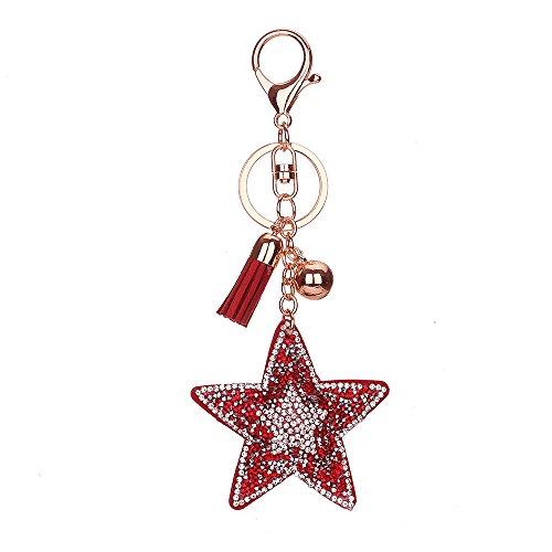 Llavero lleno del Rhinestone, Chickwin Llavero encantador del regalo del bolso del anillo de la Estrella de cinco puntas de la mariposa de la manera de Chickwin (Rojo)