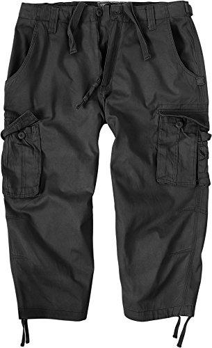 Herren 3/4 Hose Vintage Short aus vorgewaschener Baumwolle Farbe Schwarz Größe XXL