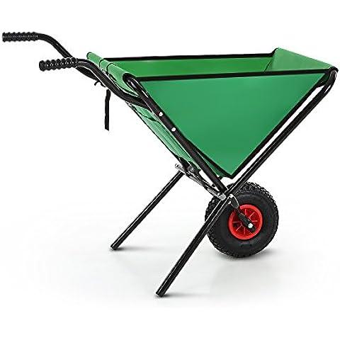 IKAYAA TC1004A - Carro de Mano de Transporte Plegable para Jardín Playa Terraza,Color Verde (Capacidad