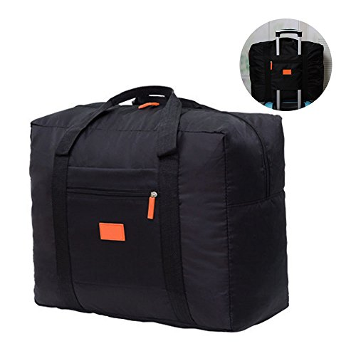 Jooks Travel Tote Bag Foldable Duffel Bag Hand Baggage lightweight Luggage Bag Suitcase Clothes Storage Bag Great for Camping and Gym Black
