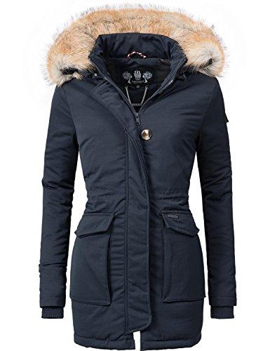 Navahoo Damen Winter-Jacke Winter-Mantel Schneeengel (vegan hergestellt) Blau Gr. M
