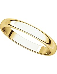14ct Yellow Gold, Light Half Round Wedding Band 4MM (sz H to Z5)
