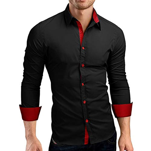 MRULIC Karneval Shirt Herren Langarmhemd Warm und Button-Down -