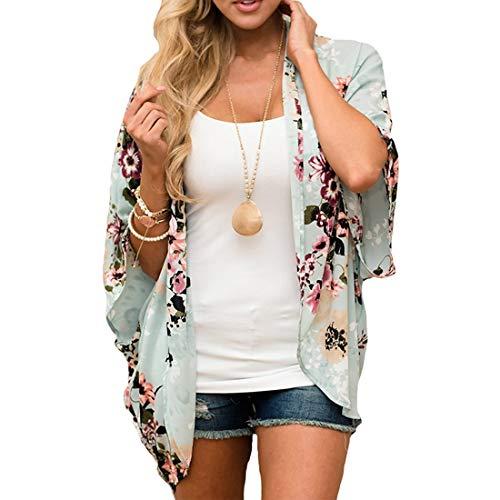 ECOMBOS Damen Florale Kimono Cardigan - Chiffon Tops Cardigan Bluse Shawl Sommer Beachwear Cover up Leichte Boho Strand Jacke (Grün, XL)