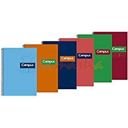 5x Bloc Cuaderno Espiral Campus University A5 80 Hojas Tapa Dura 60gr Doble Raya 2.5mm